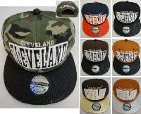 Snap-Back Flat Bill Cap [Cleveland] Textured Bill